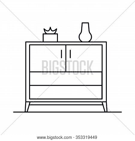 Interior With Cupboard, Vase, Pot, Plant, Shelves. Vector Interior With Cupboard, Vase, Pot, Plant,