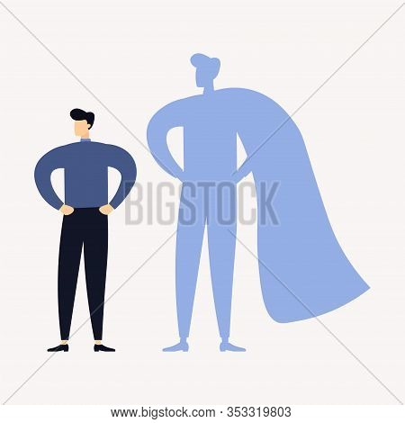 Businessman With Superhero Shadow. Vector Illustration. Business Concept.
