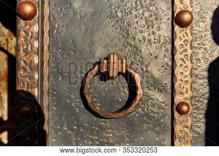 Old Metal Door With A Old Door Knob For Print
