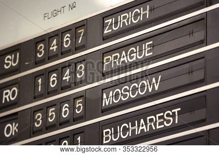 Old Flight Information Display System. Split-flap (or Just Flap) Display. Often Used As A Public Tra