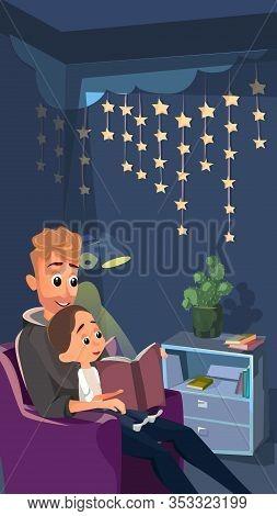 Cartoon Father Sit In Armchair Read To Little Son. Boy In Pajamas Sleepwear Listen Vector Illustrati