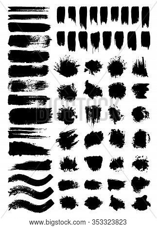 Scribbles And Stains Vector Illustrations Set. Chaotic Freehand Ink Pen Scrawls And Paint Blots Pack
