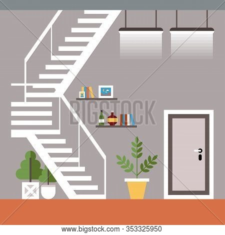 Vector Illustration General Comfort Coworking. Two-level Office For Sharing. Skype-rooms Are Include