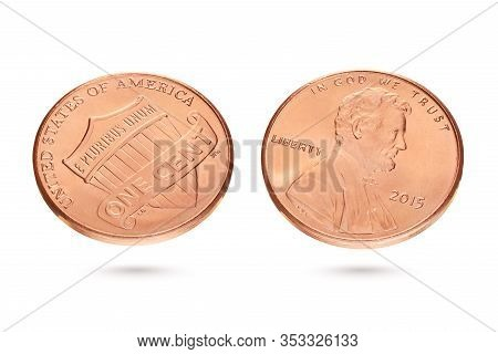 Both Sides Of One Us Cent Or Penny Coin Isolated On White Background