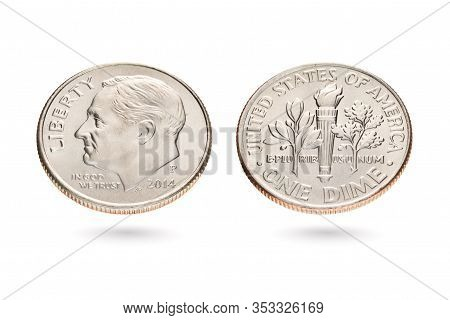 Both Sides Of Ten Us Cents Or Dime Coin Isolated On White Background