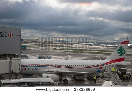 London, United Kingdom - February 2020:  Mea (middle East Airlines) Aircraft On Runway Of London Hea