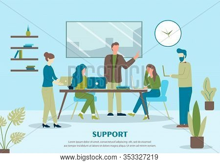 Support Banner. Cartoon People Customer Online Support, Computer Help Vector Illustration. Woman Tal
