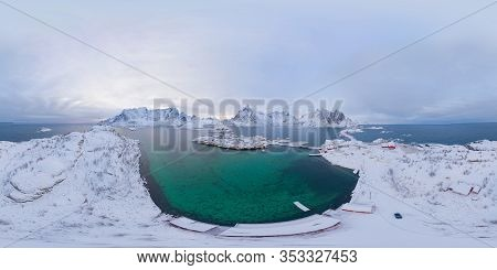 360 Panorama By 180 Degrees Angle Seamless Panorama Of Aerial View Of White Snow Mountain In Lofoten
