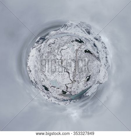 Little Planet 360 Degree Sphere. Panorama Of Aerial View Of White Snow Mountain In Lofoten Islands,
