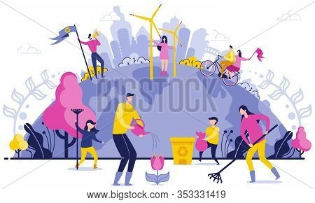 Planet Wide Garbage Disposal Flat Illustration. Arge-scale Cleaning On Planet. People Care About Env