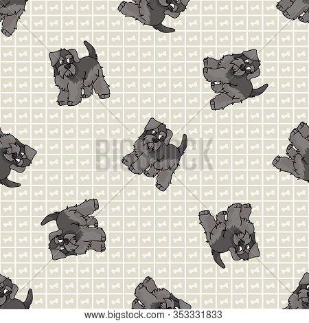 Hand Drawn Cute Schnauzer Puppy Breed Dog Seamless Vector Pattern. Purebred Pedigree Puppy Domestic