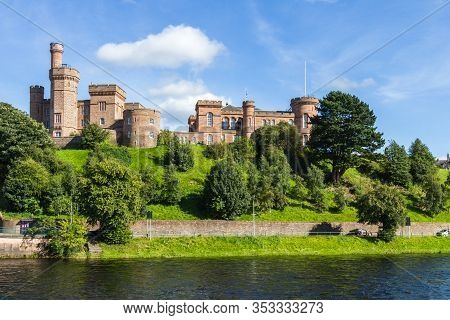 Scotland  - September 07 2019: View Of Inverness Castle On A Beautiful Sunny Day From Across The Riv