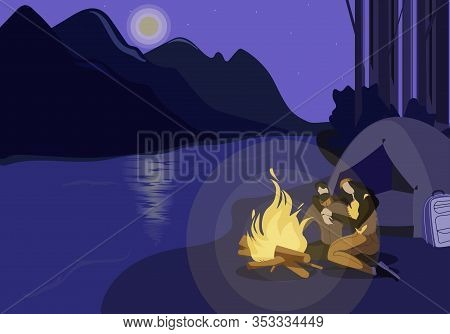 River Bank Campground Flat Vector Illustration. Cartoon Boyfriend And Girlfriend Enjoying Evening On