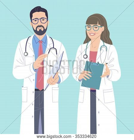 Man And Woman Doctors Simple Characters. Friendly Medical Workers In White Coats And Eyeglasses. Doc