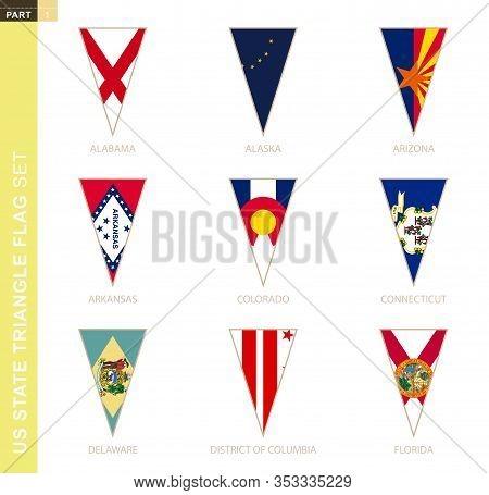 Triangle Usa States Flag Set, Stylized State Flags Of Alabama, Alaska, Arizona, Arkansas, Colorado,