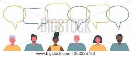 Communication Of Men And Women. International Community Of People. People Icons With Speech Bubbles.