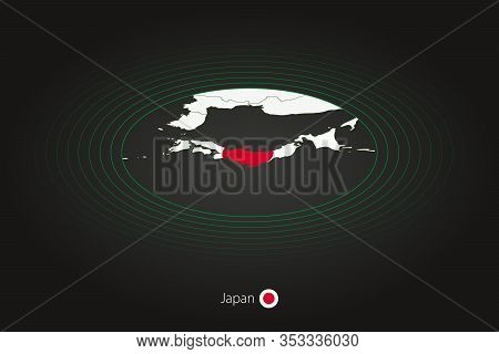 Japan Map In Dark Color, Oval Map With Neighboring Countries. Vector Map And Flag Of Japan