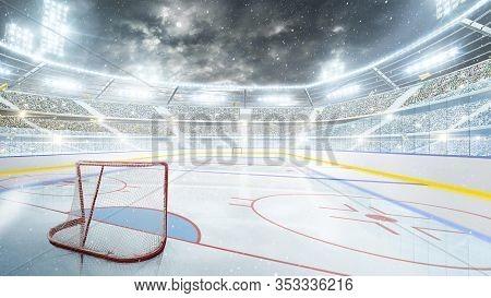 Hockey Stadium At Night. Arena Illuminated By Spotlights. Empty Sport Rink. Hockey Stadium At Night