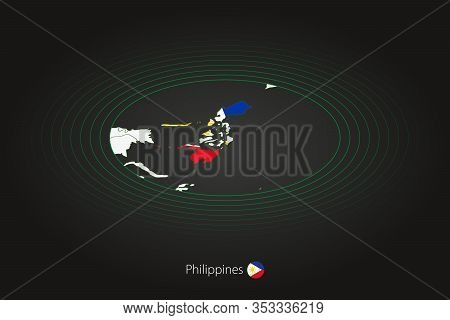 Philippines Map In Dark Color, Oval Map With Neighboring Countries. Vector Map And Flag Of Philippin