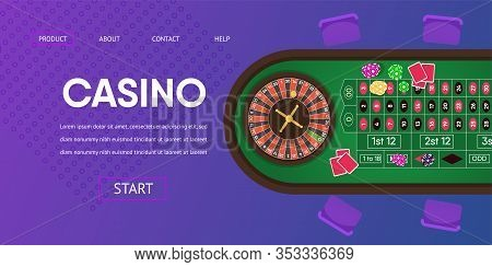 Casino Gambling Table Vector Illustration. Spin Roulette Green Table Black Red Bet Wager Chips Cards