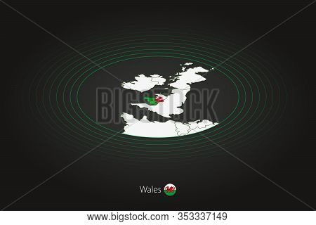 Wales Map In Dark Color, Oval Map With Neighboring Countries. Vector Map And Flag Of Wales