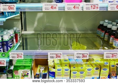 Paris, France - February 29, 2020: Empty Shelves With Hand Sanitizers At Parisian Supermarket Or Pha