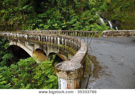 Waikani Falls Bridge, Maui, Hawaii