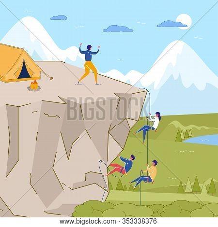 Rock Climbing Training. Cartoon People Climb On Mountain Peak Vector Illustration. Camping On Cliff,