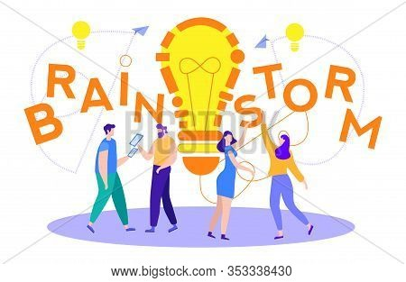 Flat Banner Written Over People Brainstorm Cartoon. People, During Search For Solution And At End, I