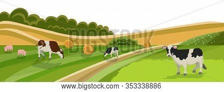 Cow And Pig Graze On Grassland Meadow Vector Illustration. Animal Farm, Cattle Livestock Swine Eatin