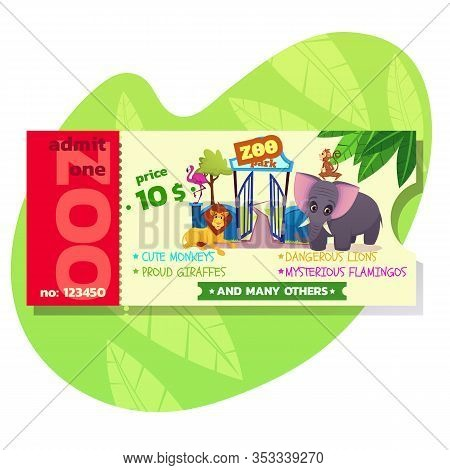 Zoo Ticket Template Design With African Or Forest Animals. Admit One Card Or Coupon With Dangerous S