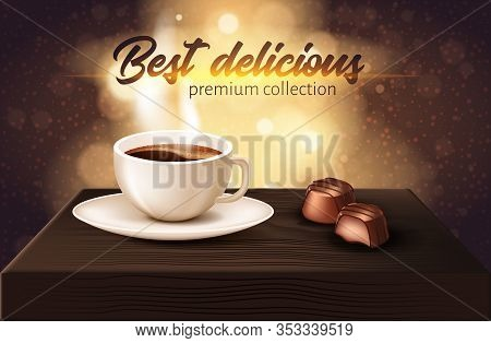 Best Delicious Premium Collection Realistic Banner. On Table There Is White Cup With Coffee, Number