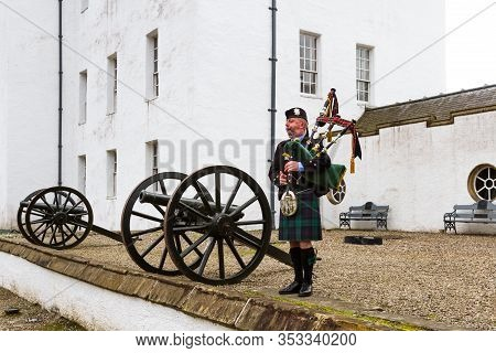 Bagpiper At Blair Castle
