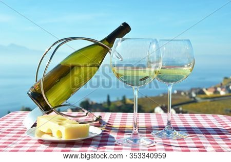 Wine and cheese. Lavaux, Geneva lake, Switzerland