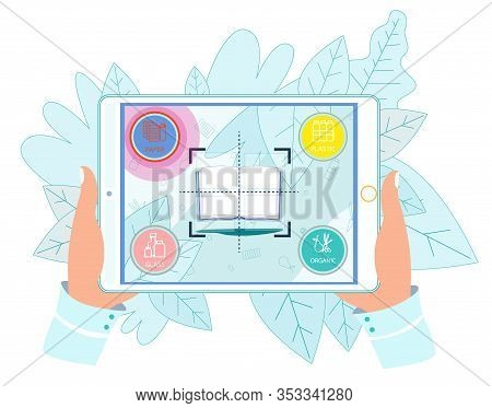 Woman Hands Holding Tablet With Book On Screen Which Determined Like Paper In Mobile Application For