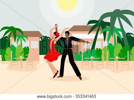 Latin Duo Performing Dance Vector Illustration. Man And Woman In Dance Costumes Perform Fiery Famous