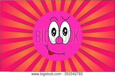 Emotional Violet Round Playful Lustful Emoji Face On A Background Of Abstract Purple Rays. Vector Il