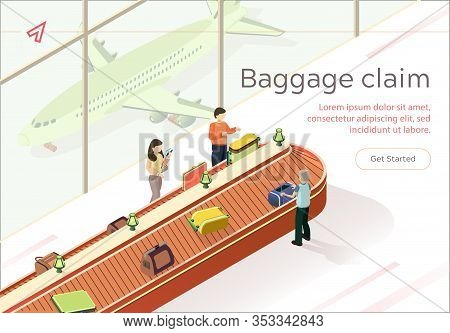 Flat Illustration Baggage Claim Collect Luggage. Baggage Claim At Airport. Men And Women Receive Lug