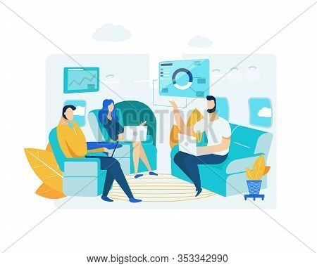 Business Negotiations In Office. Men And Businesswoman. Presentation With Charts And Diagrams. Colle