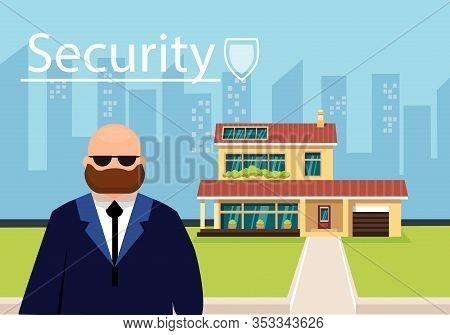 Vector Illustration Inscription Security Flat. Bearded Bald Man Large Build Works As Security Guard.