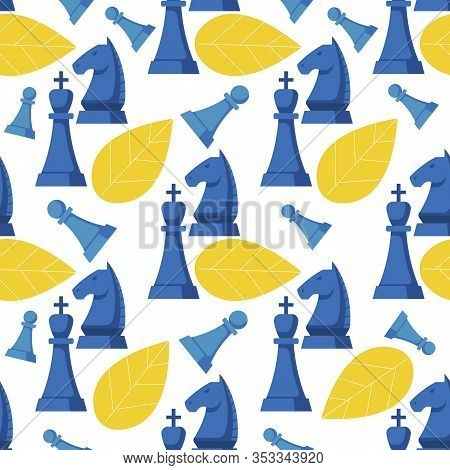 Illustration Chess Strategy Game Pattern Seamless. Metaphor That Describes An Ideal Team, Striving F