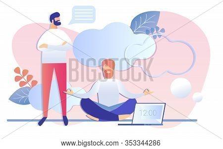 Cartoon Man Talking To Worker Meditating In Lotus Position Vector Illustration. Businessman Practice