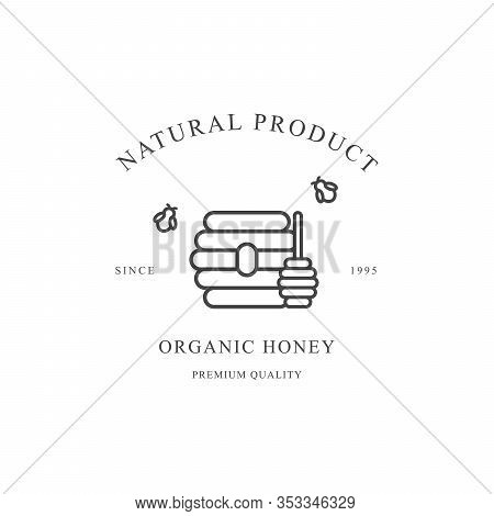 Outline Honey Vector Black Icon Isolated On White Background. Honeybees, Honey Stick And Beehive.