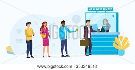 People Queuing At A Bank For A Cashier In The Cash Department In A Financial Concept, Vector Illustr