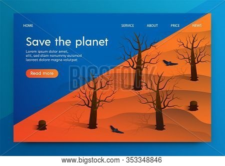 Isometric Illustration Is Written Save The Planet. Cutting Down Trees And Disappearance Forests. Ext