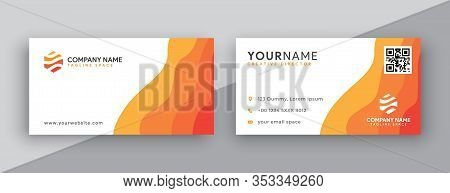 Business Cards Design, Orange Business Card Template . Editable Business Card Vector . Modern Wavy S