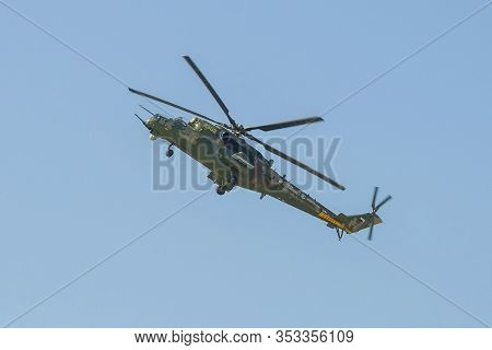 Zhukovsky, Russia - August 30, 2019: Russian Mi-35m Helicopter In Flight. Fragment Of The Air Show M