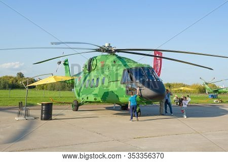 Zhukovsky, Russia - August 30, 2019: Heavy Transport Twin-engine Russian Helicopter Mi-38t On The Ai