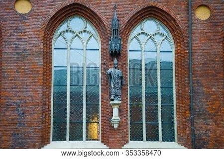 Riga, Latvia - November 03, 2013: View Of The Sculpture Of The Founder Of Riga, Bishop Albert Fon Bu