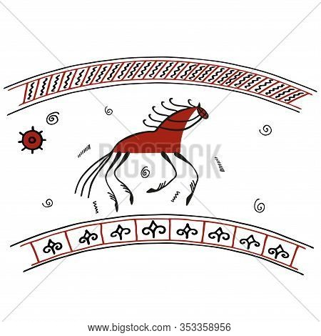 Galloping Horse On The Earths Firmament And Under The Firmament Of Heaven Filled With Rain. Vector I